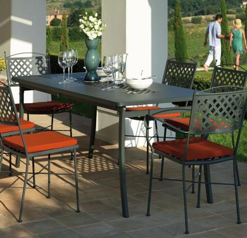 Tavolo e sedie springtime pieghevoli in ferro zincato for Tavoli e sedie per esterno