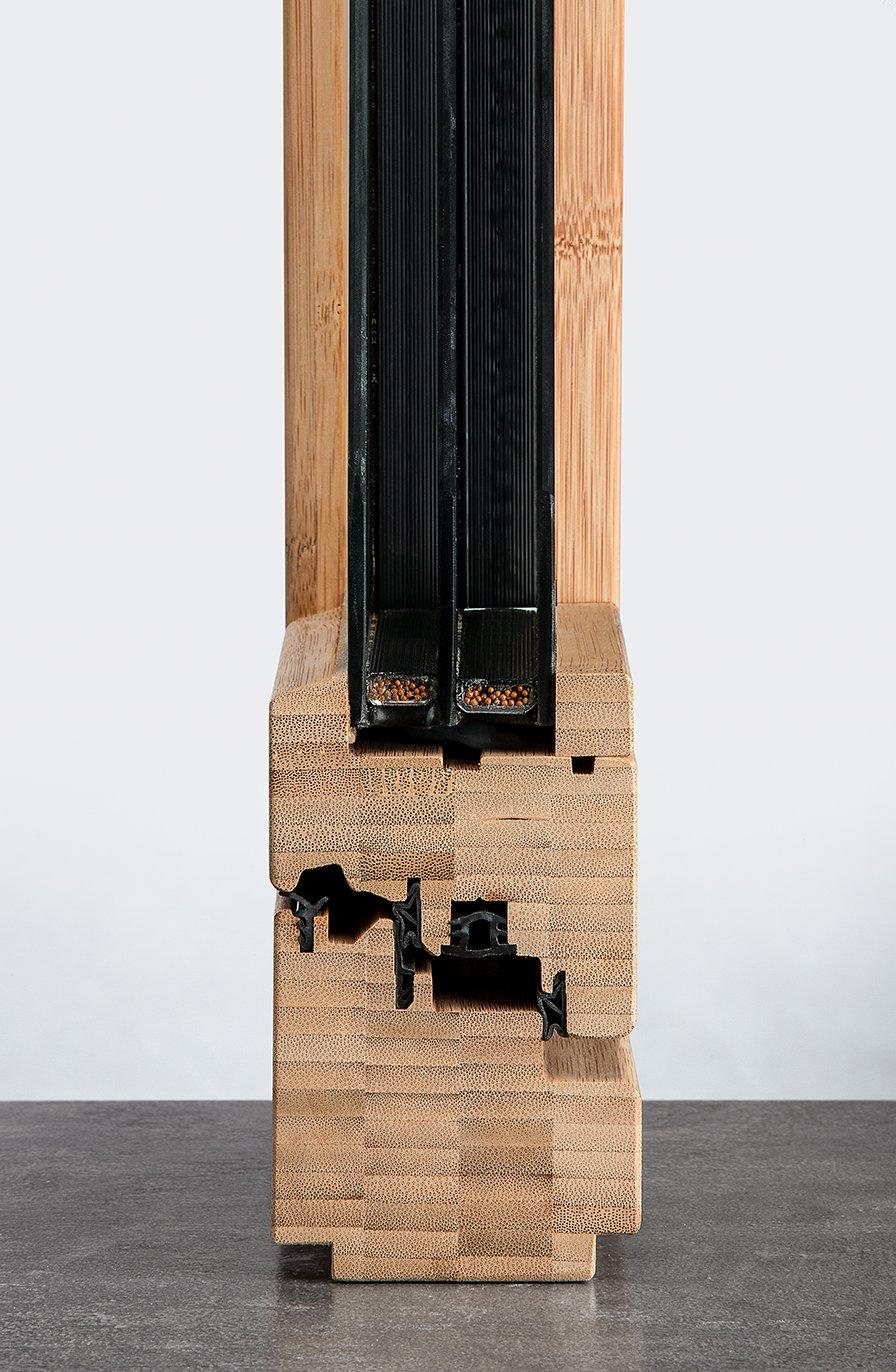particolare finestra in bamboo