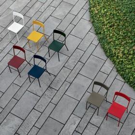 Sedia C1 in metallo verniciato in diversi colori